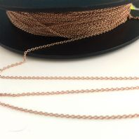 1M Sterling Silver Anchor Chain 1.0mm 18k Rose Gold Plated